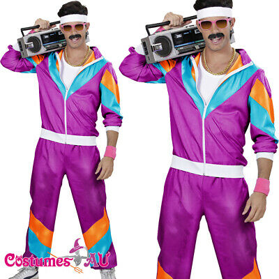 AU34.99 • Buy Mens 80s Costume Height Fashion Scouser Tracksuit Shell Suit Purple 1980s Party