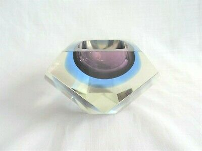 Faceted MURANO Glass Bowl In Purple & Blue - Vintage • 41.90£