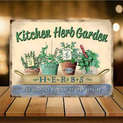 £5.14 • Buy Kitchen Herb Garden Retro Vintage Style Metal Tin Wall Plaque Sign Novelty Gift
