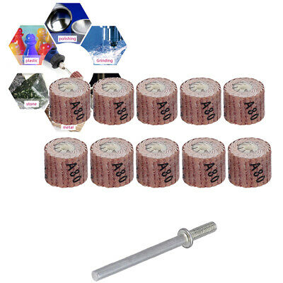 10pcs Flap Wheel Disc Shaft Abrasive Sanding Drill Polish For Dremel Rotary • 4.85£