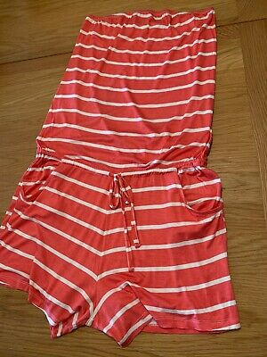 Next Tall Range Stripe Bandeau Elasticated & Drawstring Waist Playsuit Size 16t • 4£