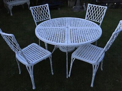 Vintage Cast Aluminium Bamboo Style Table And Chairs  • 400£