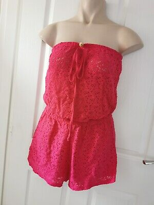 Strapless Bandeau Summer Beach Pink Playsuit UK Size 10/12 • 1.20£