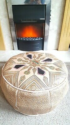 Moroccan Real Leather Pouffe With Black High Gloss Accents, Ready Stuffed • 45.99£
