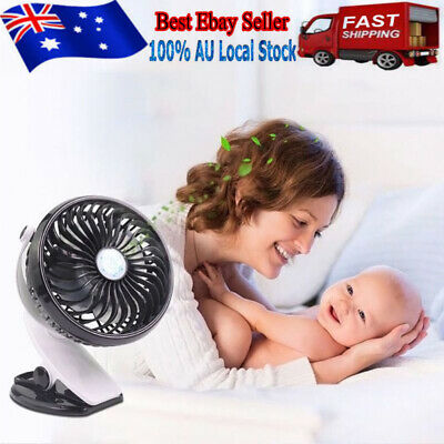 AU15.99 • Buy Multi Speed Mini Rechargeable Electric USB Table Fan With Clip Pram Car Office