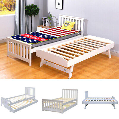 £169.95 • Buy 3FT Single Wooden Wood Bed Sleepover Guest With Trundle 2 In 1 Extra White/Grey