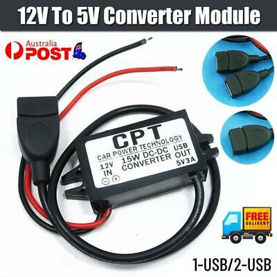 AU8.78 • Buy 12V Step Down To 5V Converter Module 3A 15W USB Output Power Adapter