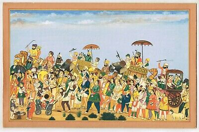 $2717.18 • Buy Hand Painted Sikh Miniature Painting Royal Procession Art Of Maharaja Sher Singh