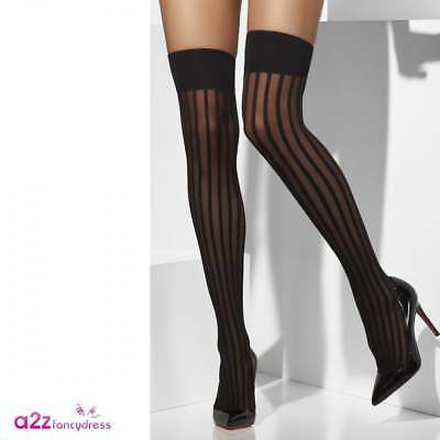 Ladies Sexy Black Sheer Striped Hold Ups Burlesque Show Girl Adult Fancy Dress • 5.99£