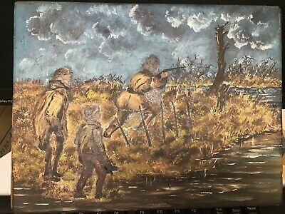 Unusual Original Oil Painting Over Copper Etching  Outdoor Hunting • 25£