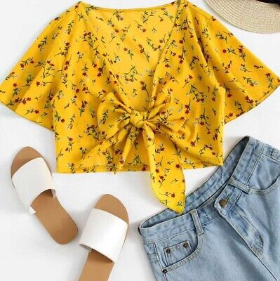 Yellow Floral Tie Front Crop Top Womens Tie Up Size Small 8 10 Girls Autumn • 3.90£