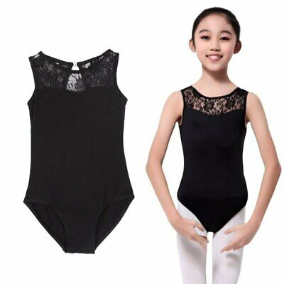 Black Splice Lace Leotard Ballet Dance Gymnastic Ages 5-15 Kids Girl UK SELLER • 9.99£