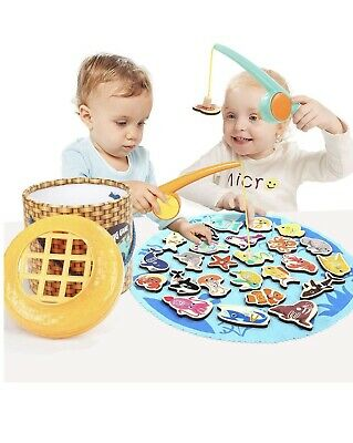 TOP BRIGHT Magnetic Fishing Game Wooden Toys For 2 3 4 Year Olds Gifts - • 24.99£