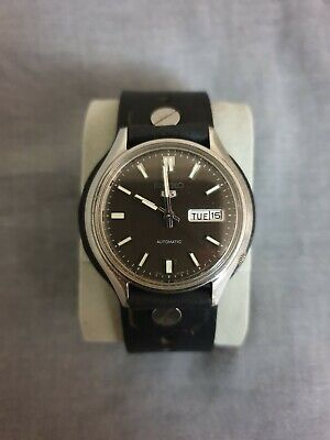 $ CDN20.48 • Buy Seiko 5 Automatic 6309 Vintage Black Bund Leather Strap Very Good Condition