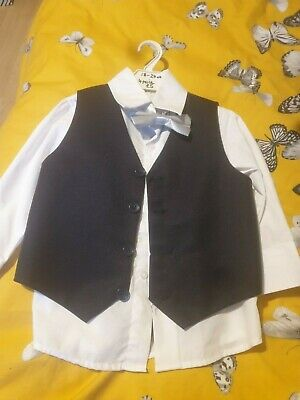 18-24 Month 4 Piece Boys Suit Shirt, Waistcoat, Trousers And Bow Tie • 2.50£
