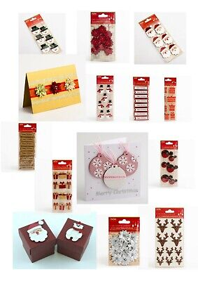 Handcrafted Christmas Craft Card Making Decorations Handmade Embellishments • 2.13£