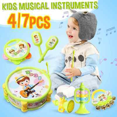 Kids Drum Bell Hammer Trumpet Set Musical Instrument Educational Toys Xmas Gifts • 10.19£