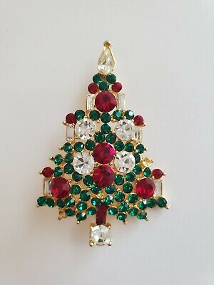 $24 • Buy Vintage Signed M. Jent Classic Christmas Tree Brooch - Missing 2 Stones