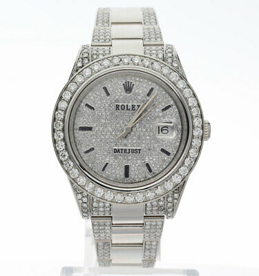 $ CDN13267.32 • Buy Rolex Datejust II Steel #116300 Watch 6.65CT GH Diamond Encrusted 41MM Post 2011