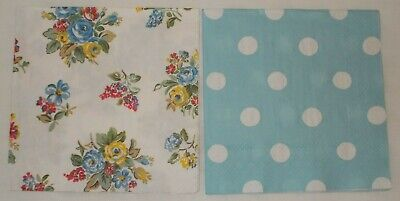 Cath Kidston Highgate Rose & Button Spot Paper Napkins X 4 (2 Each Of 2 Designs) • 3.70£