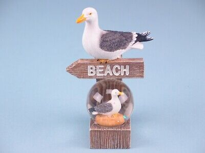 Seagull And SnowGlobe With Beach Sign Nautical Seaside Ornament • 7.99£