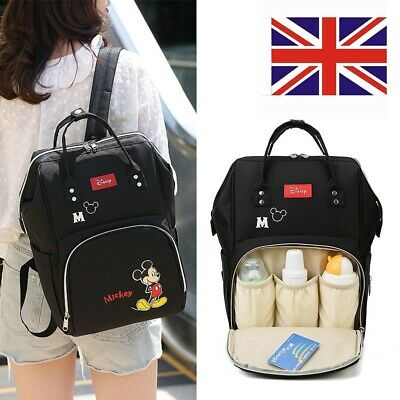 Large Multi-use Mickey Mummy Baby Diaper Nappy Backpack Mom Changing Travel Bag • 16.49£