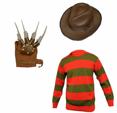 Men's Freddy Krueger Horror Fancy Dress Hat Jumper Claw Gloves Halloween ELM St • 14.99£