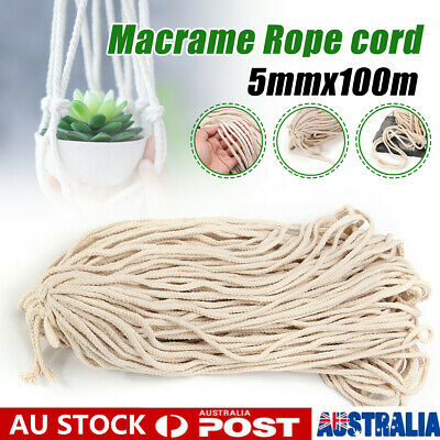 AU11.29 • Buy 5mm Macrame Rope Natural Cotton Beige Twisted Cord Artisans Hand Craft 100M 【AU】