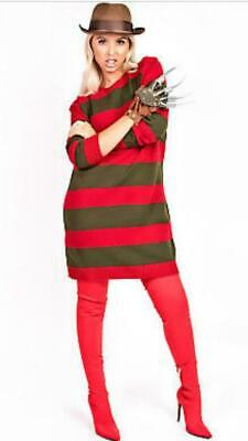 Women Halloween Freddy Krueger ELM St Fancy Dress Costume Hat Glove & Jumper • 16.98£