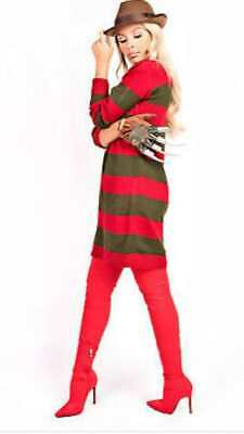 Ladies Halloween Horror Theme Hat Glove Jumper Fancy Dress Outfit Freddy Krueger • 13.99£