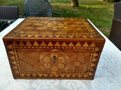 Antique Art Deco Parquetry Wooden Jewellery, Stationery, Keepsake Box With Key • 46£