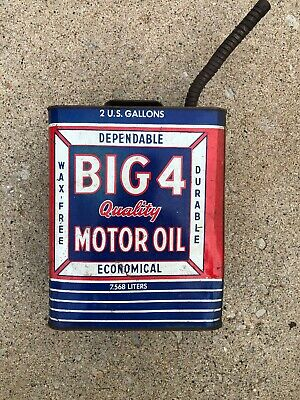 $ CDN112.05 • Buy Vintage Big 4 Motor Oil Can Quality Motor Oil - Full Metal 2 Gallon Can. 7.568