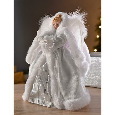 Christmas Angel Tree Topper Decoration With Feather Wings White/Silver 26cm • 14.99£
