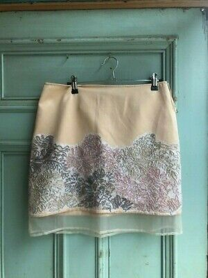 Topshop Embroidered Beaded Vintage Style Nude Silk Skirt, Size 12 - With Tags.  • 15£