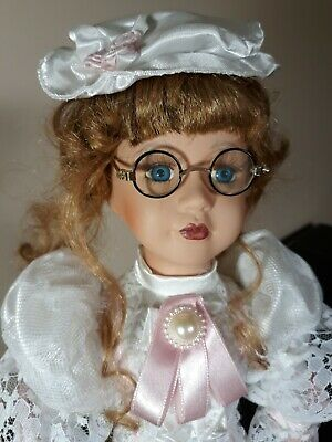$ CDN53.34 • Buy Victorian PORCELAIN DOLL 17  Collectible Blue Eyes Blonde Hair Glasses Clothing