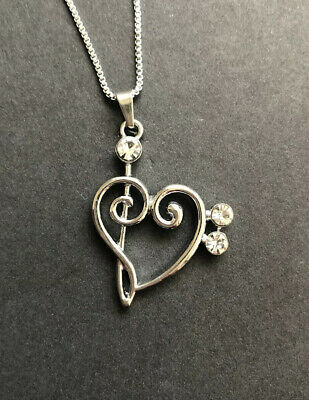 "$ CDN15.03 • Buy Silver Tone Music Bass Clef Heart Necklace 18 - 20"" Chain NEW"