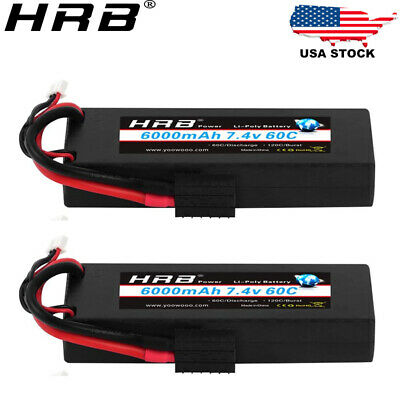 $ CDN90.94 • Buy 2x HRB 2S 6000mAh Hardcase Lipo Battery 7.4V 60C For RC Car Truck Drone Buggy US