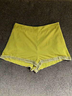 Topshop Lime Green Beaded Embellished Shorts & Top  Size 16 12/14 2 Piece • 11.99£
