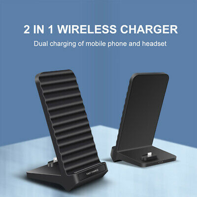 AU21.99 • Buy AU 2in1 15W Fast Qi Wireless Charger Dock Stand Pad For Airpods IPhone 11 XS XR