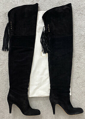 Authentic Chloé Black Suede Thigh High Boots Size 39 • 75£