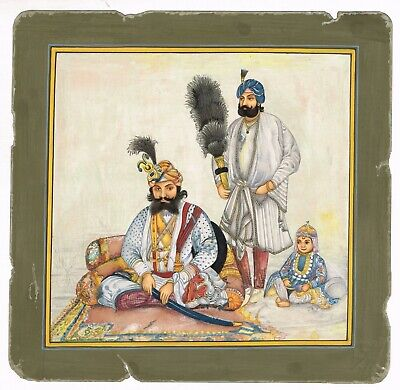 $476.69 • Buy Handmade Sikh Miniature Painting Maharaja Gulab Singh With A Child & Attendance