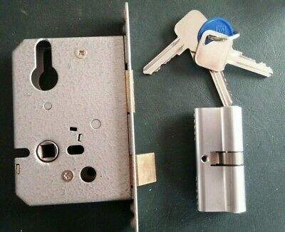 Mortice Sash Lock Euro Profile Case / Body With Cylinder Lock And 3 Keys • 22.99£
