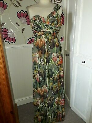 Ted Baker Chiffon Green Floral Full Length Grecian Style Dress Ted Size 0 Uk 6  • 18.99£