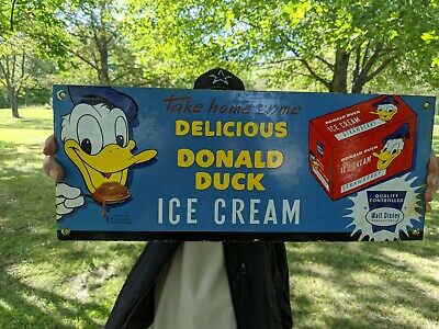 $ CDN102.67 • Buy Lg 1950'S OLD VINTAGE DONALD DUCK ICE CREAM PORCELAIN GAS PUMP ADVERTISING SIGN