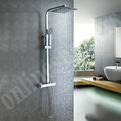 Thermostatic Exposed Shower Mixer Bathroom Twin Head Large Square Bar Set Chrome • 69.89£