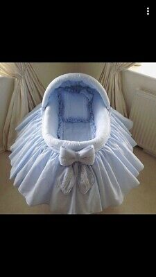 Baby Boys Moses Basket 0-3 Months Blue Bed Excellent Condition • 100£