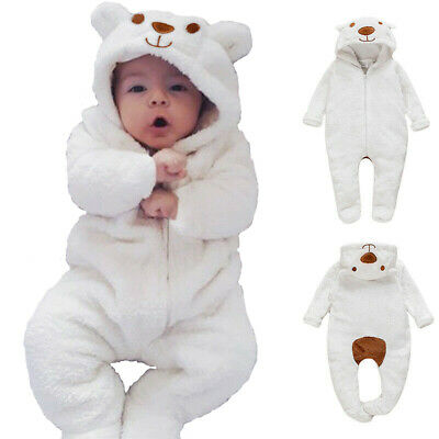 Newborn Baby Boy Girl Kids Bear Hooded Romper Jumpsuit Bodysuit Clothes Outfits • 8.89£