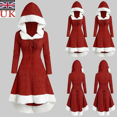Women Christmas Long Sleeve Vintage Cloak Hoodie Lace-up High Low Flannel Dress • 18.29£