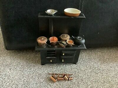 Dolls House 1/12th Scale Kitchen Cooker, Aga, Stove, Plus Copper Extras • 9.99£
