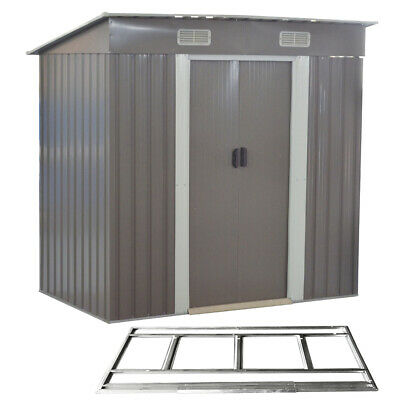 Metal Garden Tool Storage Shed Grey 6 X 4FT Pent Roof Outdoor FREE Foundation • 208.99£